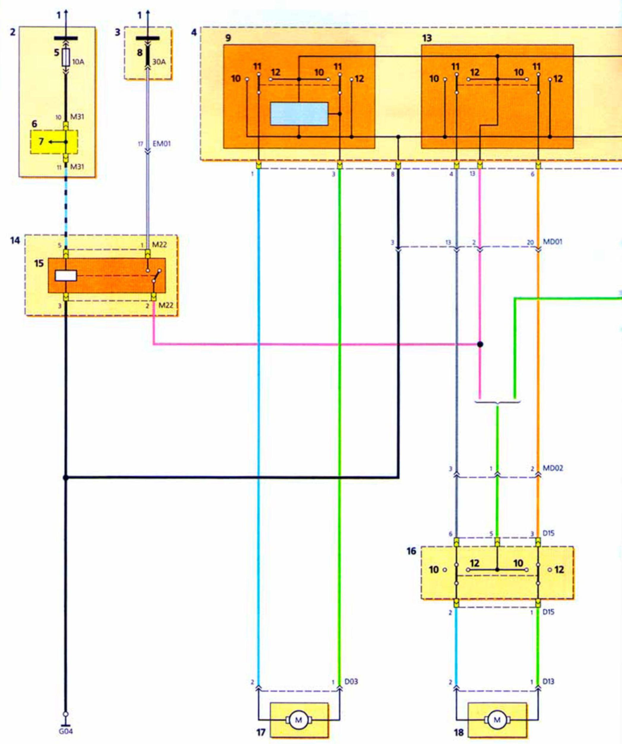 Электрическая схема кнопок стеклоподъемника