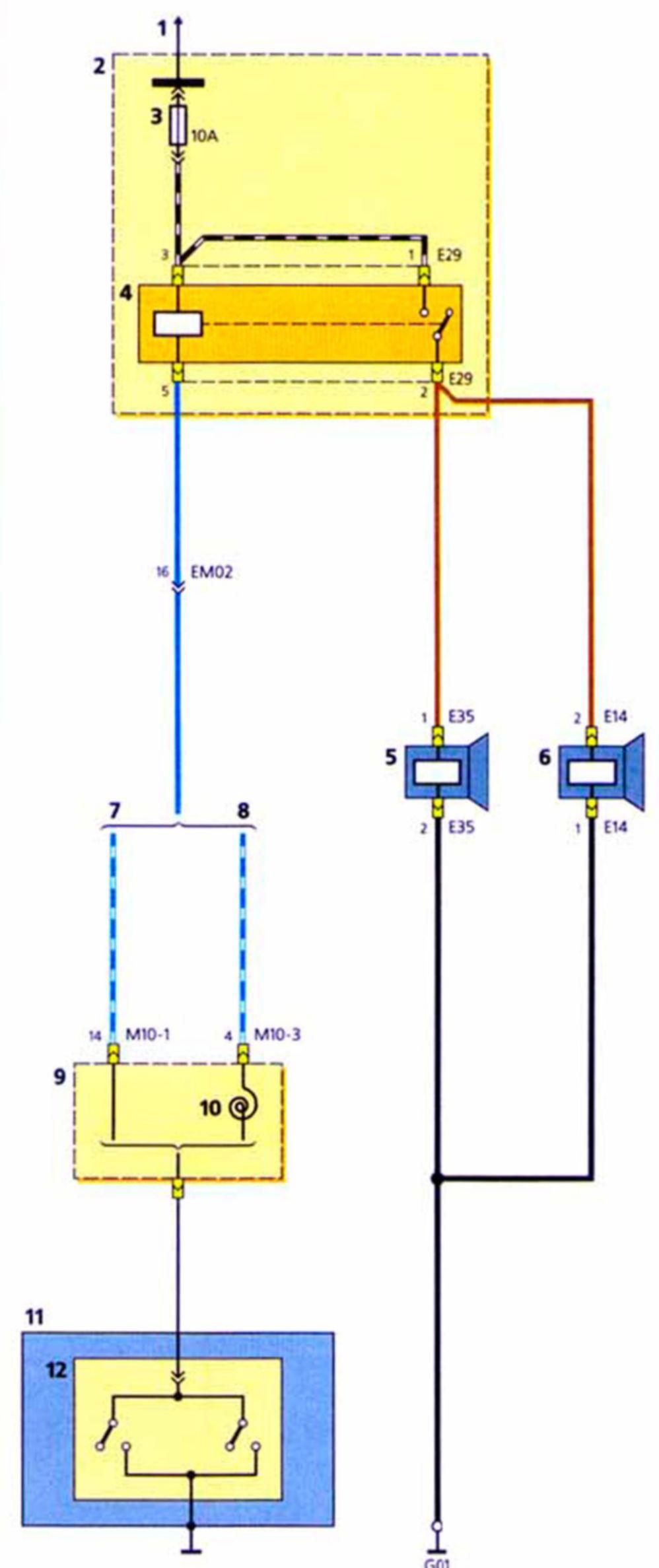 Схема включения сигнала