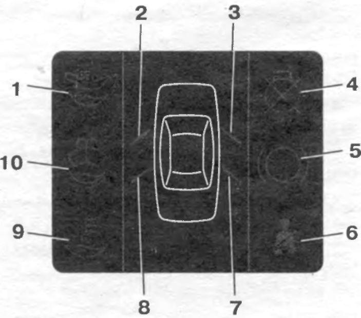 Рис. 1-8.  Блок индикации бортовой системы контроля. сигнализатор незакрытой правой передней двери.  3.