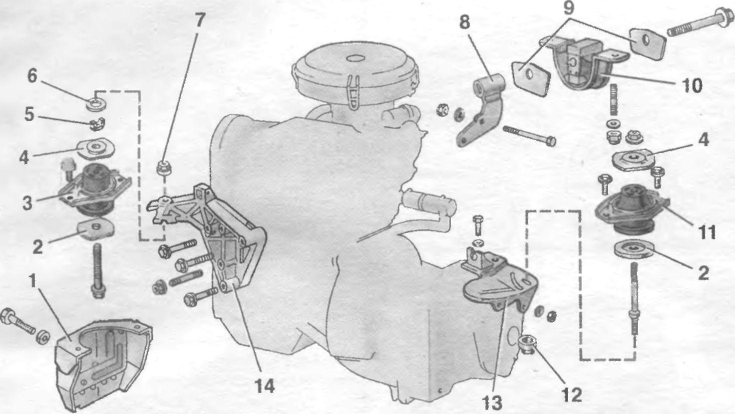 Расположения подушек двигателя ваз 2110 4 фотография