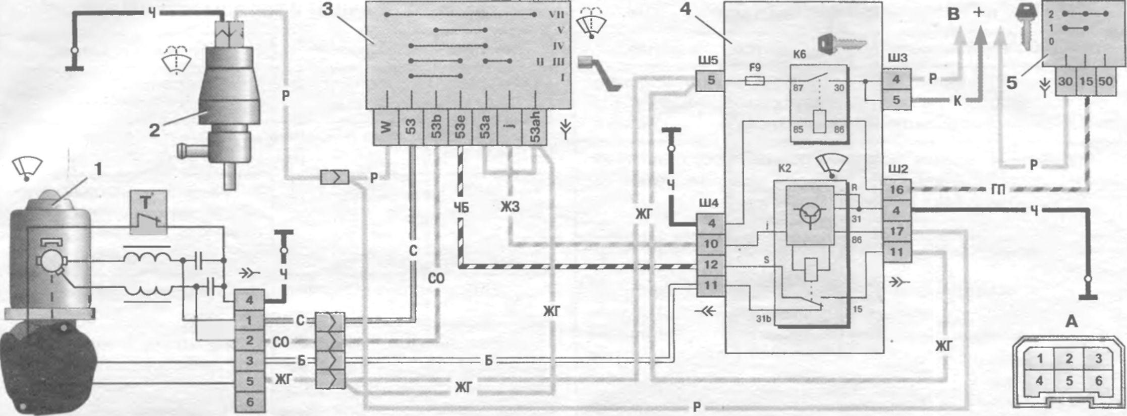 Схема подключения заднего дворника на ваз 2110